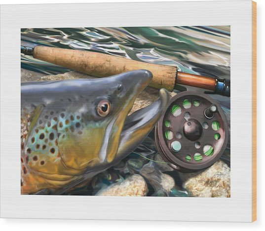 Brown Trout Sunset Wood Print