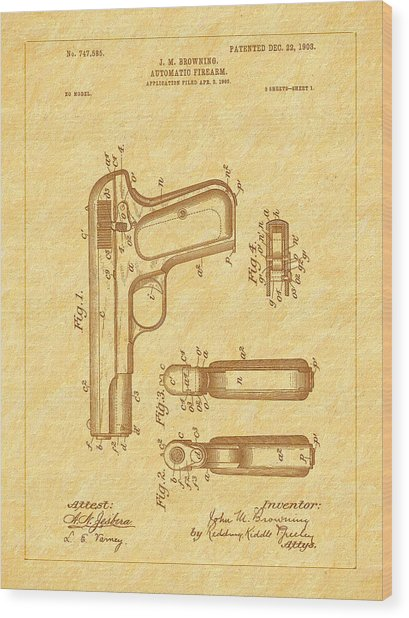 Browning 1903 Automatic Pistol Patent Wood Print by Barry Jones