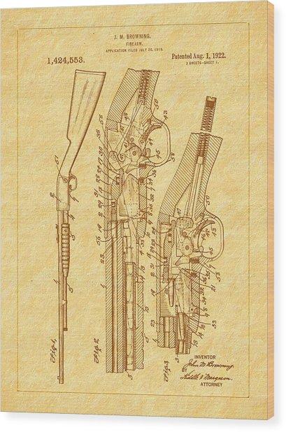 Browning 1922 Firearm Patent Wood Print by Barry Jones