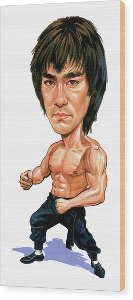 Bruce Lee Wood Print by Art