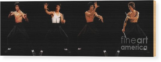 Bruce Lee - Times Four Wood Print