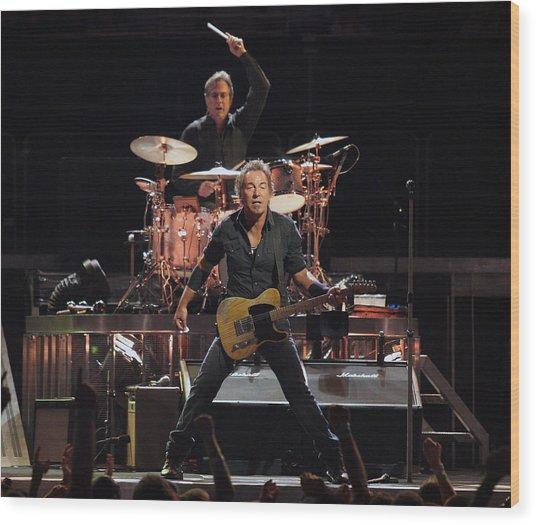 Bruce Springsteen In Concert Wood Print