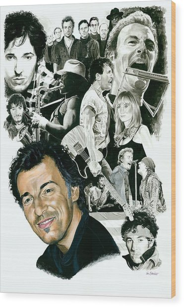 Bruce Springsteen Through The Years Wood Print