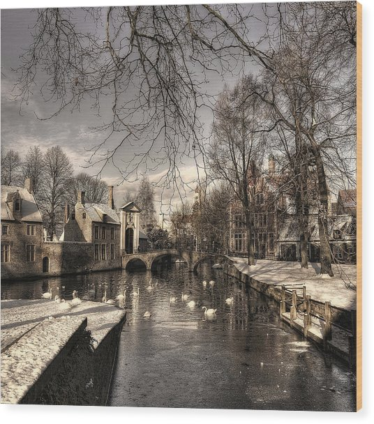 Bruges In Christmas Dress Wood Print