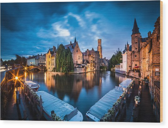 Bruges Night Wood Print