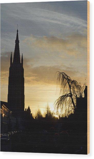 Brugges Sunset Wood Print by Stephen Richards