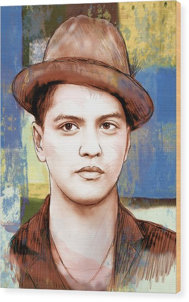 Bruno Mars - Stylised Drawing Art Poster Wood Print by Kim Wang