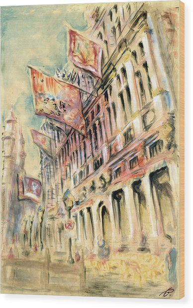 Brussels Grand Place - Watercolor Wood Print