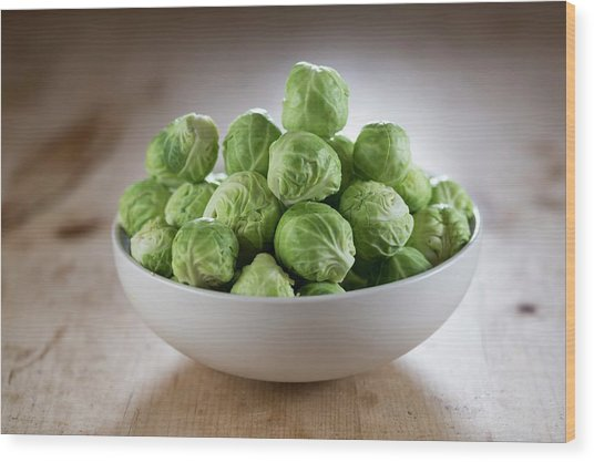 Brussels Sprouts In Bowl Wood Print by Aberration Films Ltd