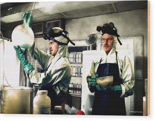 Bryan Cranston As Walter White And Aaron Paul As Jesse Pinkman Cooking Metha @ Tv Serie Breaking Bad Wood Print