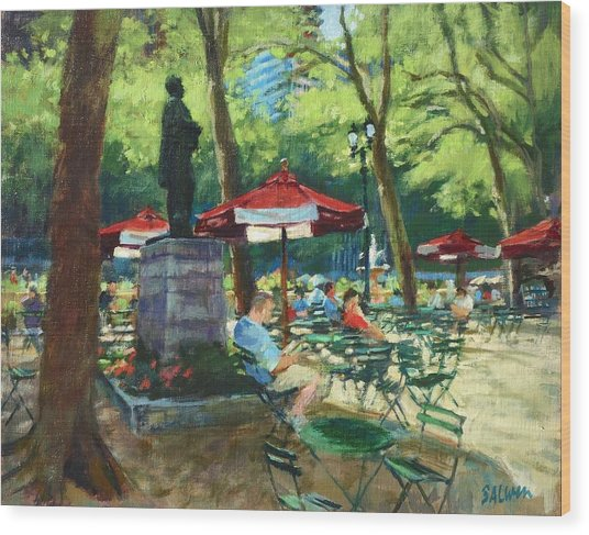 Bryant Park - The Reading Room Wood Print