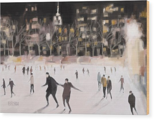 Bryant Park Ice Skaters New York At Night Wood Print