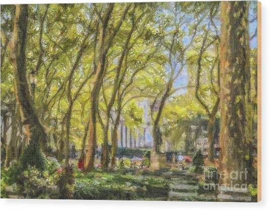 Bryant Park October Morning Wood Print