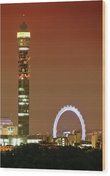 Bt Tower And The London Eye Wood Print