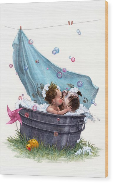 Bubble Bath Wood Print by Isabella Kung