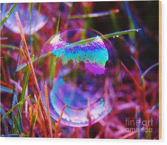 Bubble Illusions 2 Wood Print by Judy Via-Wolff