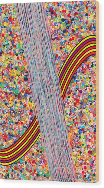 Bubble Rainbow Wood Print by Patrick OLeary