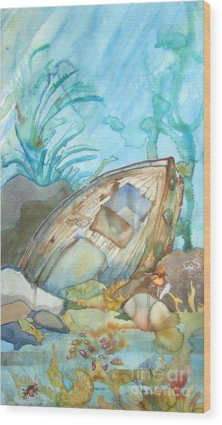 Bubble Ship Wreck Wood Print by Maya Simonson