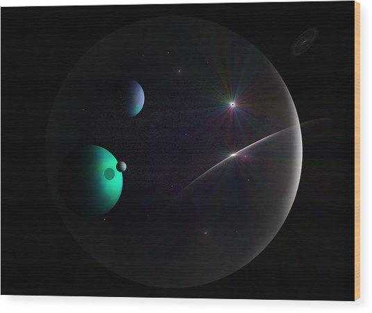Bubbled Universe Wood Print by Ricky Haug