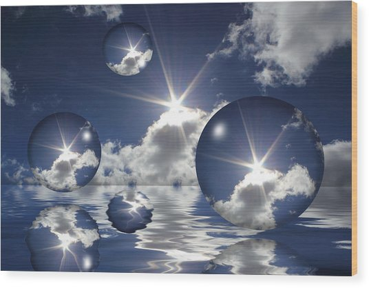 Bubbles In The Sun Wood Print