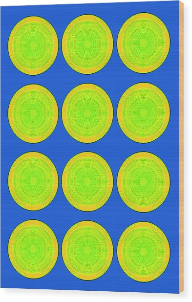 Bubbles Lime Blue Warhol  By Robert R Wood Print