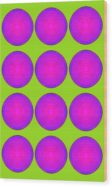Bubbles Lime Purple Poster Wood Print