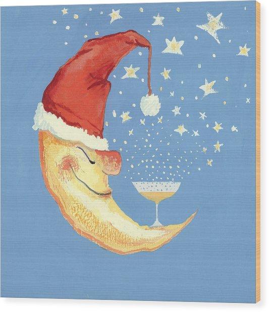 Bubbly Christmas Moon Wood Print
