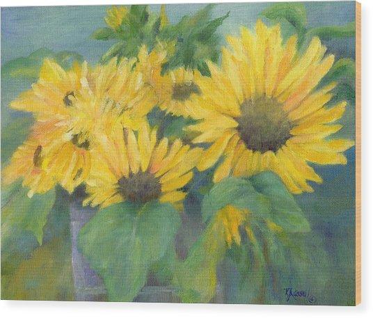 Bucket Of Sunflowers Colorful Original Painting Sunflowers Sunflower Art K. Joann Russell Artist Wood Print