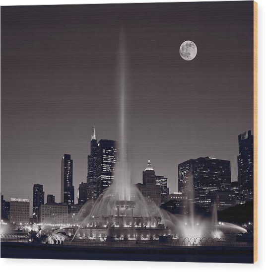 Buckingham Fountain Nightlight Chicago Bw Wood Print