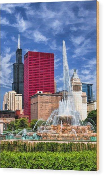 Buckingham Fountain Sears Tower Wood Print