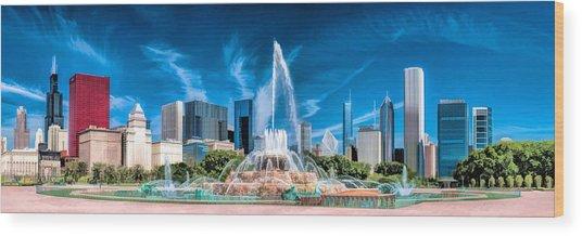 Buckingham Fountain Skyline Panorama Wood Print