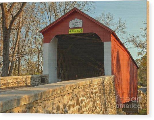 Bucks County Van Sant Covered Bridge Wood Print