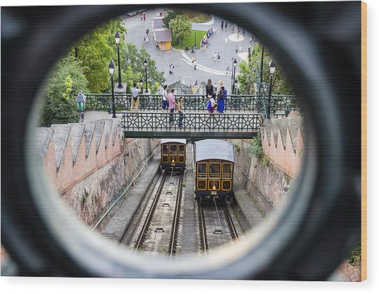 Budapest Castle Hill Funicular Wood Print
