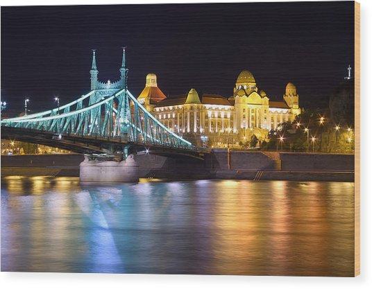Budapest Night Bridge Wood Print by Ioan Panaite
