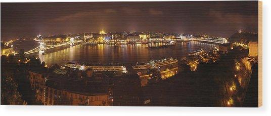 Budapest Night Panorama  Wood Print by Ioan Panaite