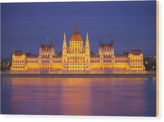 Budapest Parliament At Night Wood Print by Ioan Panaite