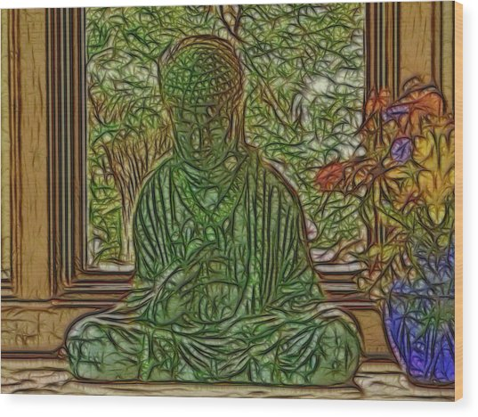 Buddha In Window With Blue Vase Wood Print