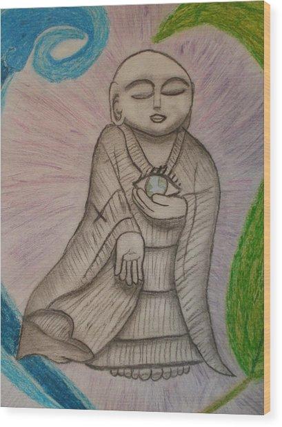 Buddha And The Eye Of The World Wood Print