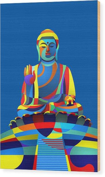 Buddha Blue Wood Print