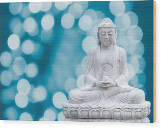 Buddha Enlightenment Blue Wood Print