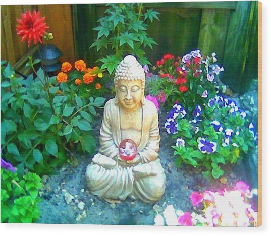 Backyard Buddha Wood Print