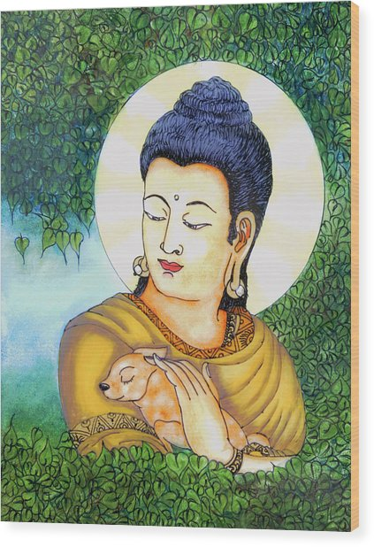 Buddha Green Wood Print by Loganathan E