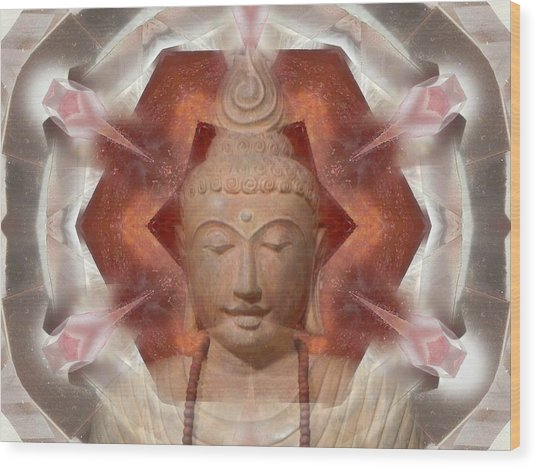 Buddha Head Crystal Mandala Wood Print