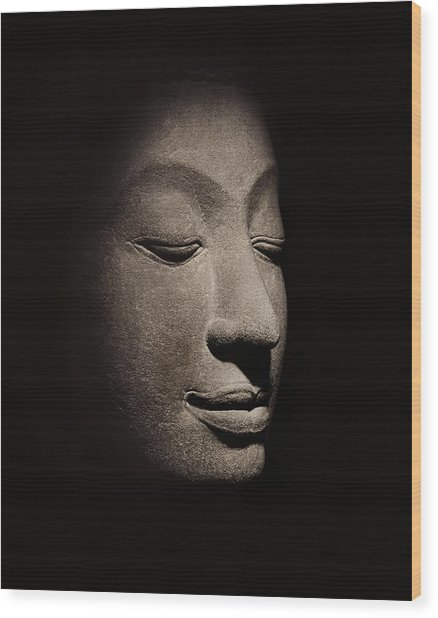 Buddha Head From The Early Ayutthaya Period Wood Print