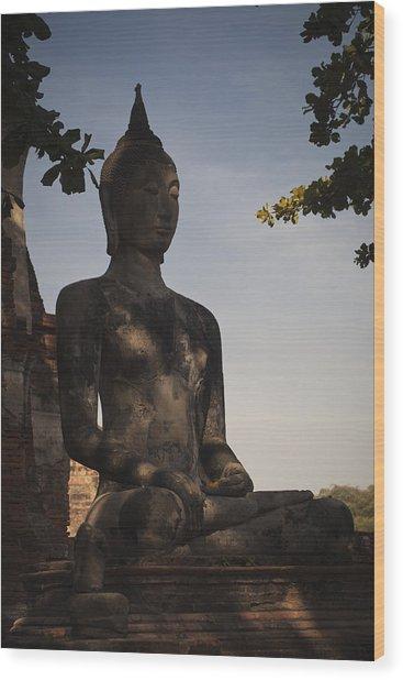 Buddha In Wat Mahathat Wood Print