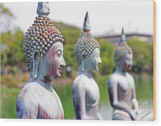 Buddha Wood Print by Lars Ruecker