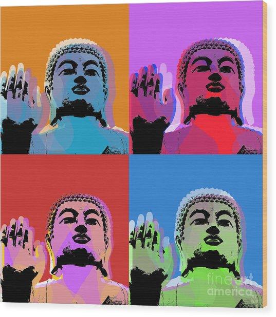 Buddha Pop Art - 4 Panels Wood Print