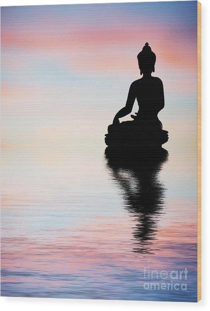 Buddha Reflection Wood Print