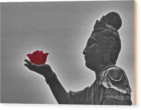 Buddha With Rose  Wood Print