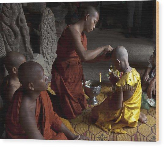 Buddhist Initiation Photograph By Jo Ann Tomaselli Wood Print